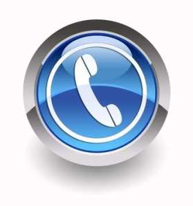 Blue phone glossy icon
